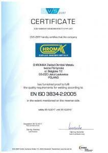 Certyfikat 3834-2 2005 Strona 1